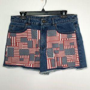 F21 American Flag Denim Distressed Jean Shorts 31